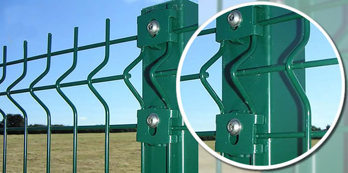 High Security Fence Welded Mesh Panels with 3 Bending Curves, Hot Dip Galvanized and Green PVC Coated
