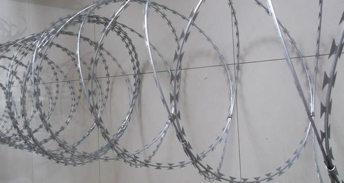 Hot Dipped Galvanised Steel Razor Coils for Mesh Fencing Toppings